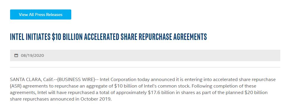 Intel stock buybacks – Source: Intel investor relations