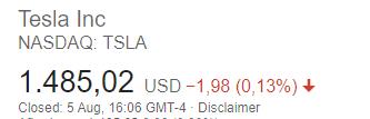 tesla stock market cap